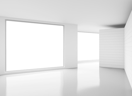 white room: white interior with big window
