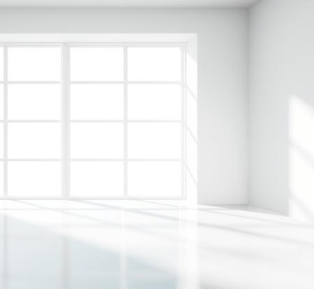 clean window: sala de luz blanca con ventana grande Foto de archivo