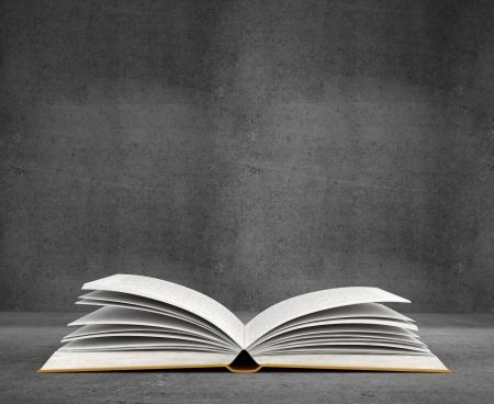 libros abiertos: libro abierto sobre fondo de hormig�n