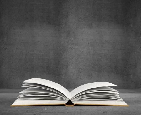 handbooks: open book on concrete background