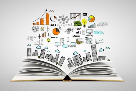 internet education: book with colorized drawing city Stock Photo