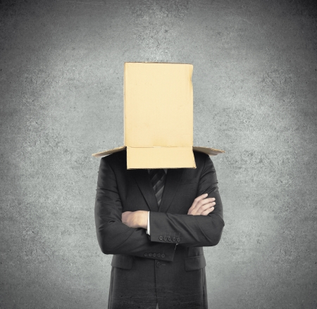 reproach: man with a box on head