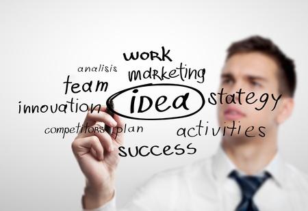hombre escribiendo: Dibujo de hombre de negocios plan de negocios concepto