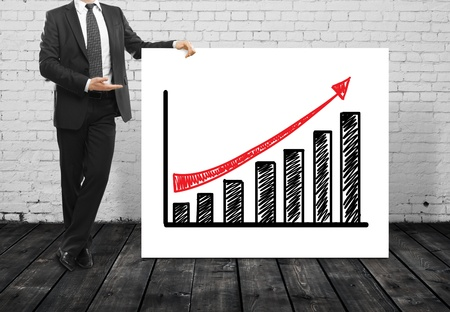 man and poster with growth chart Stock Photo - 17301028