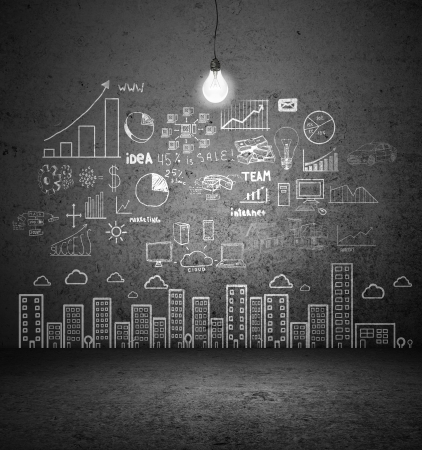 drawing concept city on concrete wall Stock Photo - 17301031