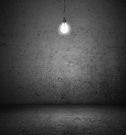high resolution dark room with lightbulb photo