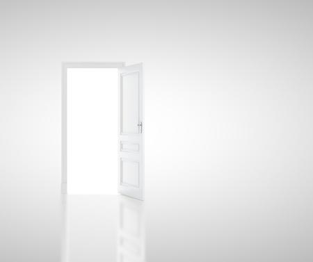 puerta abierta: abrir la puerta en la habitación blanca
