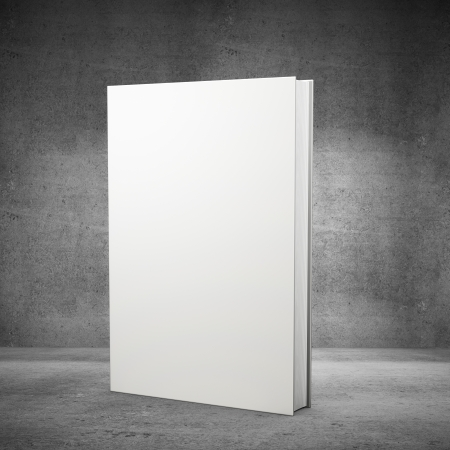 hardcovers: front view of blank book  on concrete background Stock Photo