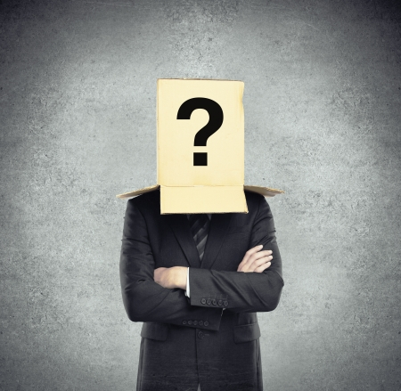 man with a box on head with question mark Stock Photo - 17300971