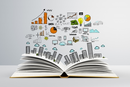colorized: book with colorized colorized drawing city Stock Photo
