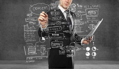 adult wall: businessman drawing plan business concept Stock Photo