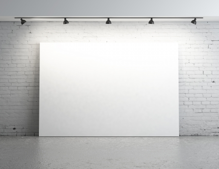 blank poster: brick room with white poster on wall