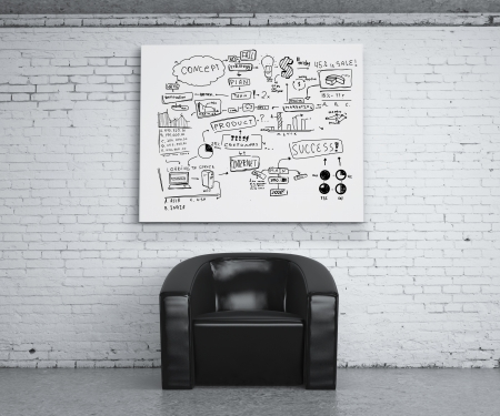 chair in room and poster with business concept photo