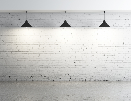 concrete room: brick concrete room with three ceiling lamps
