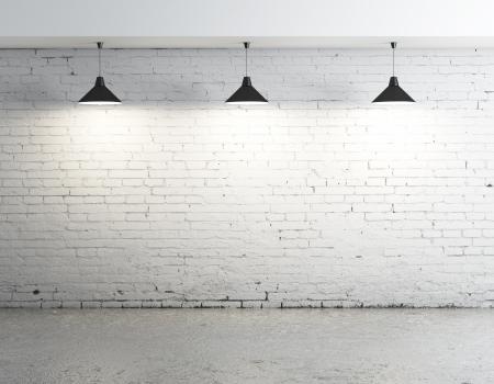 brick floor: ladrillo de hormig�n habitaci�n con tres l�mparas de techo Foto de archivo