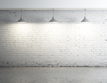 brick room with three ceiling lamps Stock Photo - 17414830