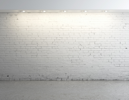 a white background: brick concrete room with ceiling lamp