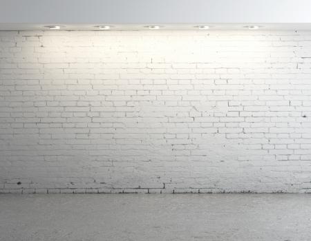 bloque de hormigon: ladrillo de hormig�n habitaci�n con la l�mpara de techo Foto de archivo