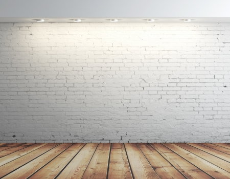 wood block: high resolution brick wall and brown floor Stock Photo