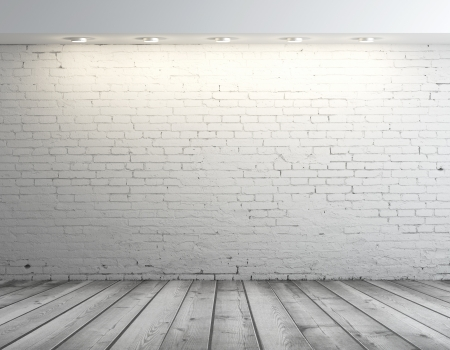 background abstracts: high resolution brick wall and gray floor
