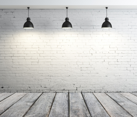 concrete room with three ceiling lamps photo