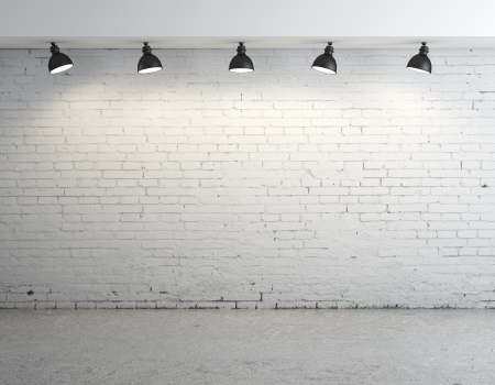 plafond: brick concrete room with five ceiling lamps