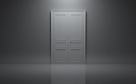 cerró la puerta en la habitación gris