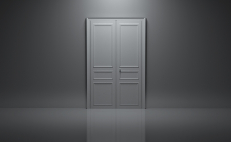 closed door: closed door in gray room Stock Photo
