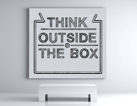 poster with Think outside the box on wall Stock Photo - 17466306