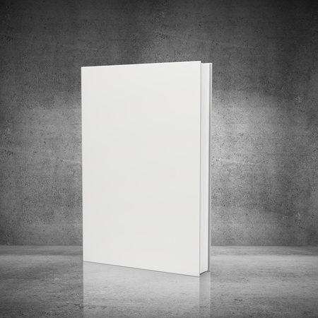 background isolated: front view of blank book  on concrete background Stock Photo
