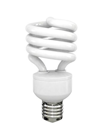 Energy saving fluorescent lightbulb on white bakground