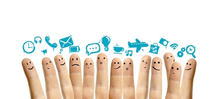 icons social network and happy finger smileys photo