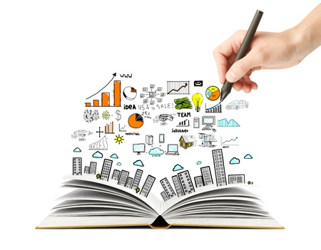 marketing research: hand drawing business scheme and open book
