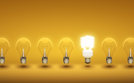 compact: light bulbs on yellow bakground