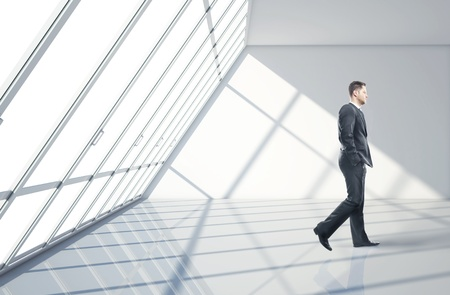 businessman walking in big office Stock Photo - 17526832