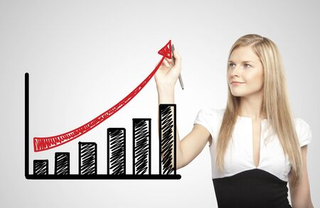 businesswoman drawing growth of chart Stock Photo - 17538917