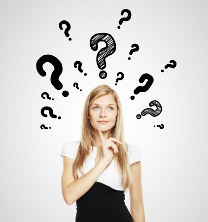 businesswoman with question mark over head Stock Photo - 17539108