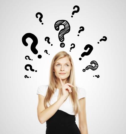 aspirations ideas: empresaria con el signo de interrogaci�n sobre la cabeza