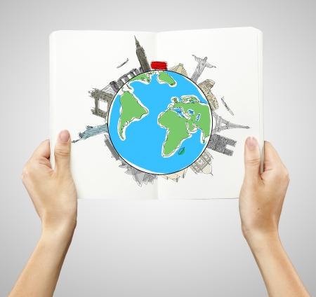 Geschaftsmann Auf Dem Boden Liegend Mit Zeichnung Reise Konzept