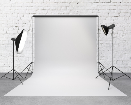 photography backdrop: photography studio with a light set-up and backdrop Stock Photo