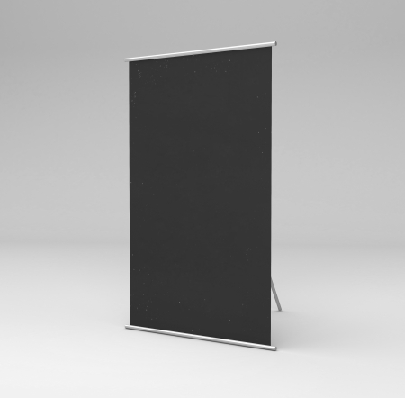 vertical black stand in gray background photo