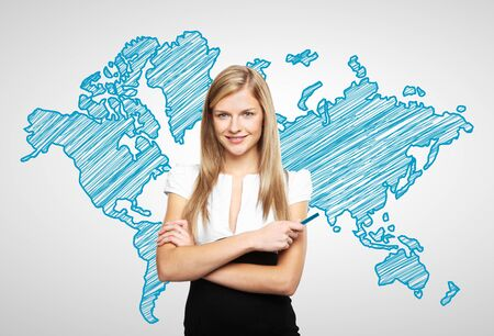 woman standing with drawing world map Stock Photo - 17538703