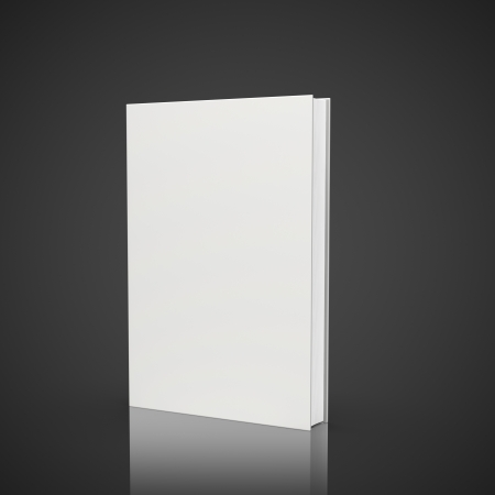 front view of blank book on black background photo