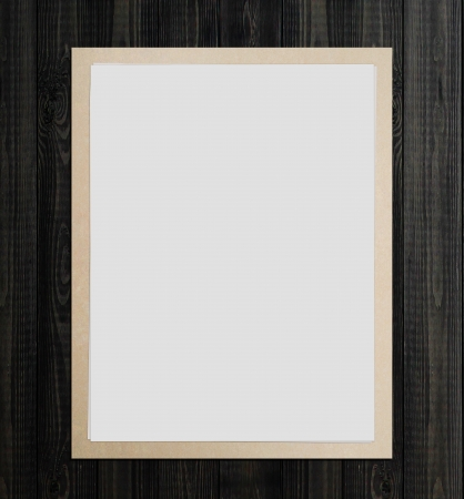 floor wood texture with white poster photo