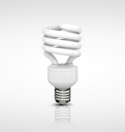 Energy saving fluorescent lightbulb on white background Stock Photo - 17686485