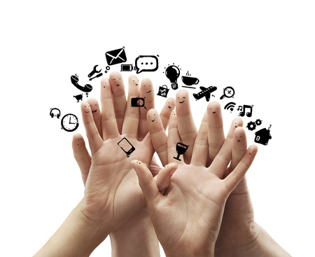 group of finger smileys with social media icons photo