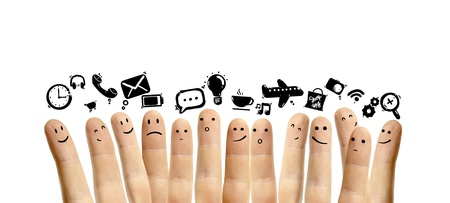 icons social network and happy group of finger smileys photo