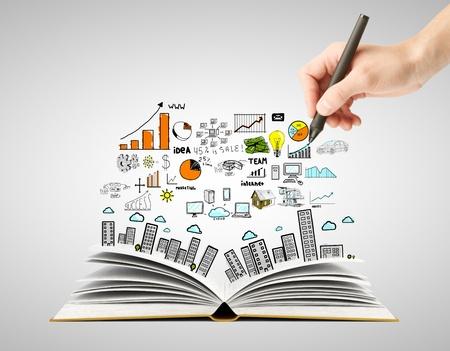 lluvia de ideas: dibujo a mano concepto de negocio y libro abierto