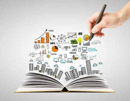 marketing research: hand drawing business concept and open book