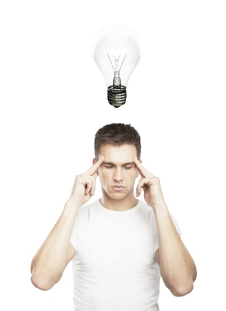 man thinks and lamp over head Stock Photo - 17641246